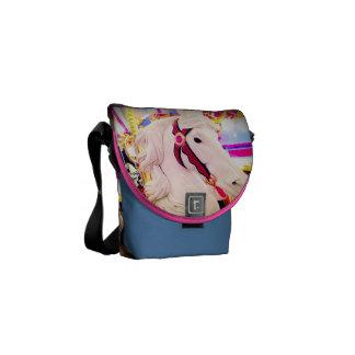 Fun colorful carnival carousel horse photo mini courier bag