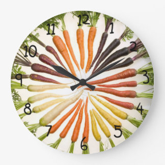 Fun Colorful Carrots Large Clock