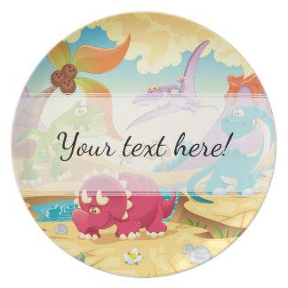 Fun Colorful Cartoon Dinosaurs Plate