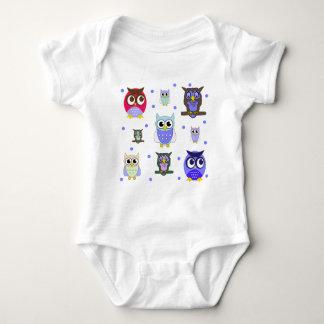 Fun Colorful Cartoon Owls Baby Bodysuit