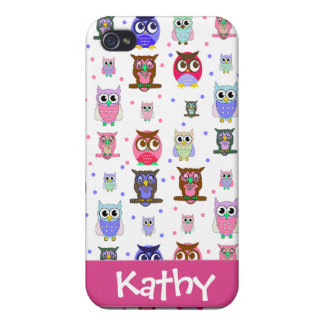 Fun Colorful Cartoon Owls i Cover For iPhone 4