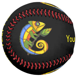 Fun Colorful Cartoon Type Lizards Holding Branch Softball