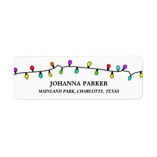 Fun Colorful Christmas Lights Holiday Pattern Label