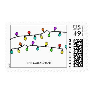 Fun Colorful Christmas Lights Holiday Pattern Postage
