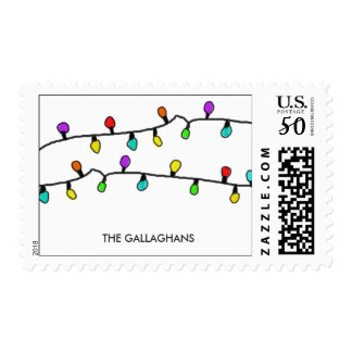 Fun Colorful Christmas Lights Holiday Pattern Postage