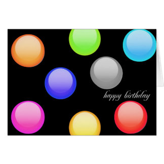 Fun Colorful Circles on Blue Happy Birthday card