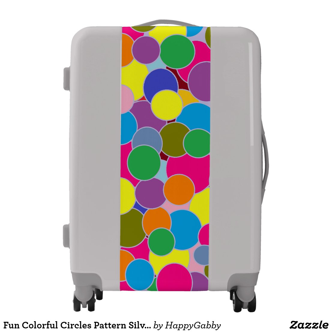 Colorful Circles Pattern Silver Suitcase