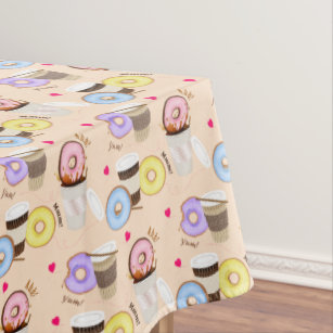 Fun Colorful Coffee U0026 Donut Tablecloth