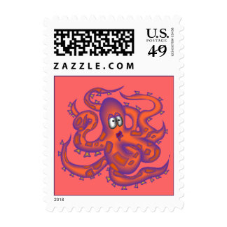 Fun & Colorful Coral Octopus Sea Postage Stamps