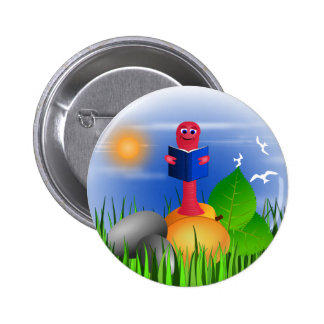 Fun Colorful Cute Bookworm Book Worm Round Buttons Pins