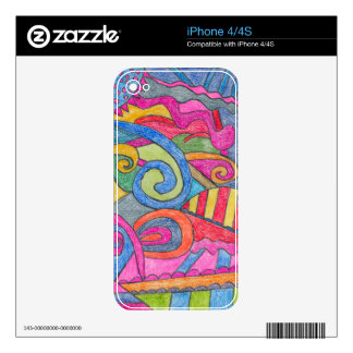 Fun Colorful Design iPhone 4/4S Skin Skins For iPhone 4