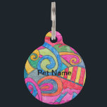 """Fun Colorful Design Pet Tag<br><div class=""""desc"""">This design was created on drawing paper and colored with color pencils.</div>"""