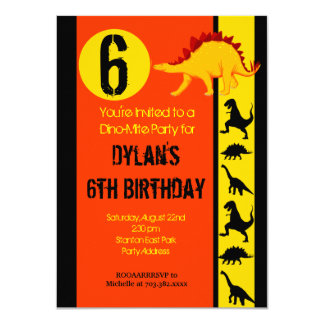 Fun Colorful Dinosaur Birthday Party Invitations