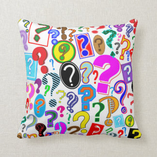 Fun Colorful Dynamic Question Marks Throw Pillow