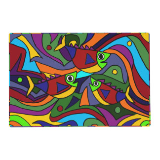 Fun Colorful Fish Abstract Art Placemat
