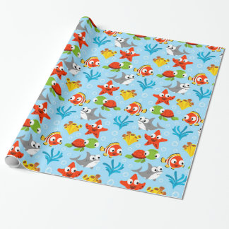Fun Colorful Fish Ocean Kids Pattern Gift Wrapping Paper
