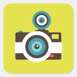 Fun Colorful FishEye Camera Photographer Square Sticker