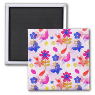 Fun Colorful Flowers Butterflies Birds Spring 2 Inch Square Magnet
