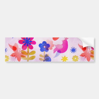 Fun Colorful Flowers Butterflies Birds Spring Bumper Sticker