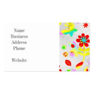 Fun Colorful Flowers Butterflies Birds Spring Business Card Template