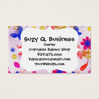 Fun Colorful Flowers Butterflies Birds Spring Business Card