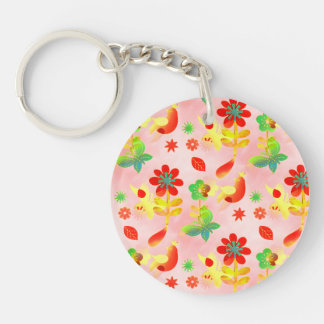 Fun Colorful Flowers Butterflies Birds Spring Double-Sided Round Acrylic Keychain