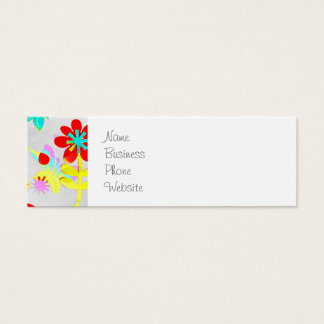 Fun Colorful Flowers Butterflies Birds Spring Mini Business Card