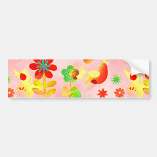 Fun Colorful Flowers Butterflies Birds Spring Patt Bumper Sticker
