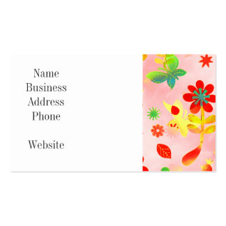Fun Colorful Flowers Butterflies Birds Spring Patt Double-Sided Standard Business Cards (Pack Of 100)