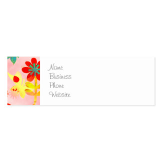 Fun Colorful Flowers Butterflies Birds Spring Patt Double-Sided Mini Business Cards (Pack Of 20)