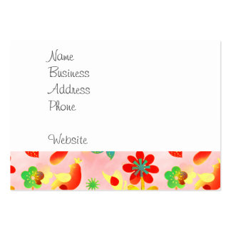Fun Colorful Flowers Butterflies Birds Spring Patt Large Business Cards (Pack Of 100)