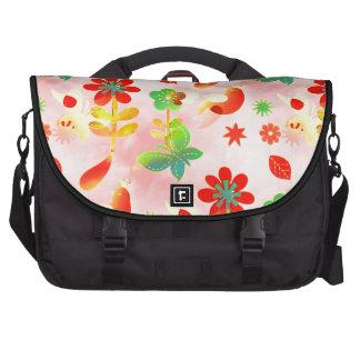Fun Colorful Flowers Butterflies Birds Spring Patt Laptop Bag