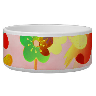 Fun Colorful Flowers Butterflies Birds Spring Dog Water Bowl