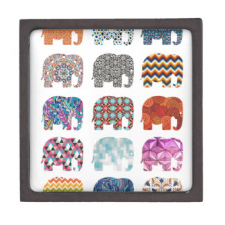 fun colorful funky elephant design gift box