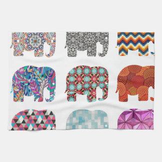 fun colorful funky elephant design hand towel