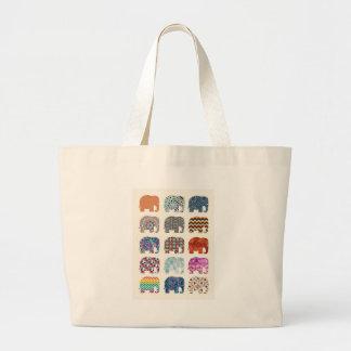 fun colorful funky elephant design large tote bag