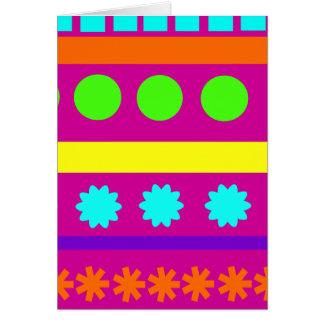 Fun Colorful Fuschsia Geometric Shapes Stripes Card