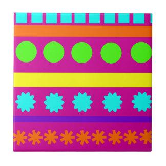 Fun Colorful Fuschsia Geometric Shapes Stripes Ceramic Tile