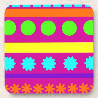 Fun Colorful Fuschsia Geometric Shapes Stripes Drink Coaster