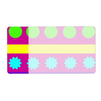 Fun Colorful Fuschsia Geometric Shapes Stripes Label