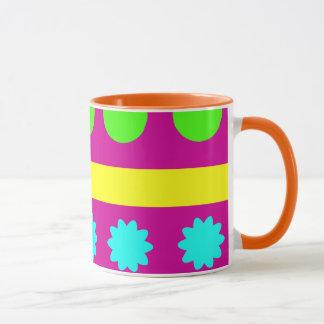 Fun Colorful Fuschsia Geometric Shapes Stripes Mug
