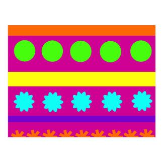 Fun Colorful Fuschsia Geometric Shapes Stripes Postcard