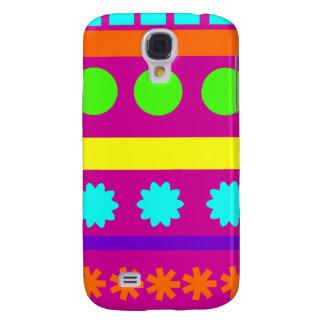 Fun Colorful Fuschsia Geometric Shapes Stripes Samsung Galaxy S4 Case