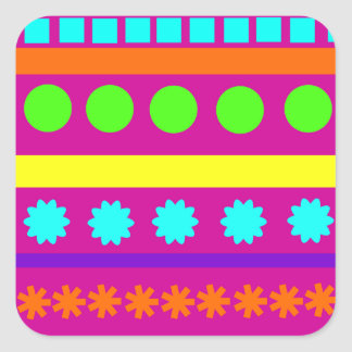 Fun Colorful Fuschsia Geometric Shapes Stripes Square Sticker