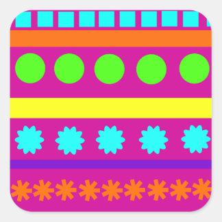 Fun Colorful Fuschsia Geometric Shapes Stripes Sticker
