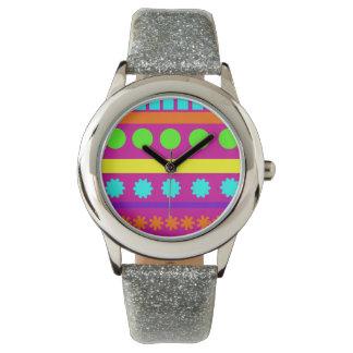 Fun Colorful Fuschsia Geometric Shapes Stripes Wristwatch