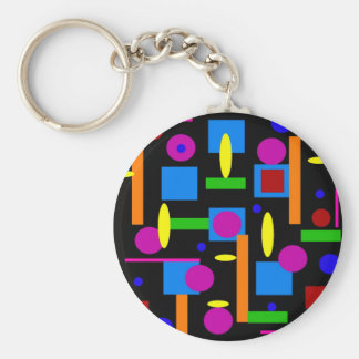 Fun Colorful Geometrical Shapes Circles Squares Basic Round Button Keychain