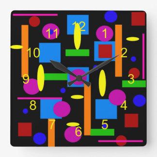 Fun Colorful Geometrical Shapes Circles Squares Square Wall Clock