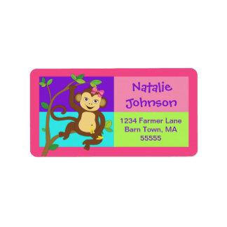 Fun Colorful Girl Monkey Address Label
