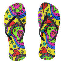 Fun Colorful Girly Abstract Pattern Cute Summer Flip Flops